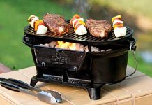 Lodge Cast Iron Sportsman's Grill. Large Charcoal Hibachi-Style Grill for Picnics, Tailgaiting, Camping or Patio. Two Adjustable Heights